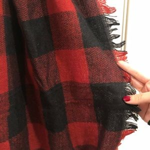 Red & Black plaid / buffalo check infinity scarf